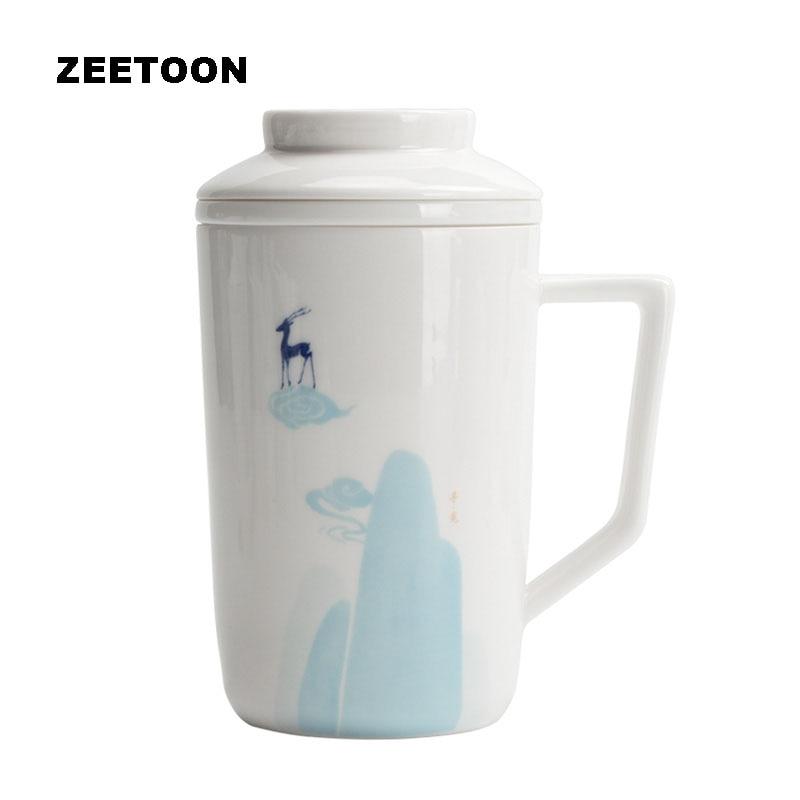 Taza de té de ciervo de porcelana de Jade blanco estilo japonés de 360 ml tapa filtros