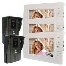 "Dhl 무료 배송 7 ""비디오 문 전화 인터폰 초인종 시스템 2 pcs 700tvl 야외 보안 cctv 카메라 + 3 pcs 실내 월"