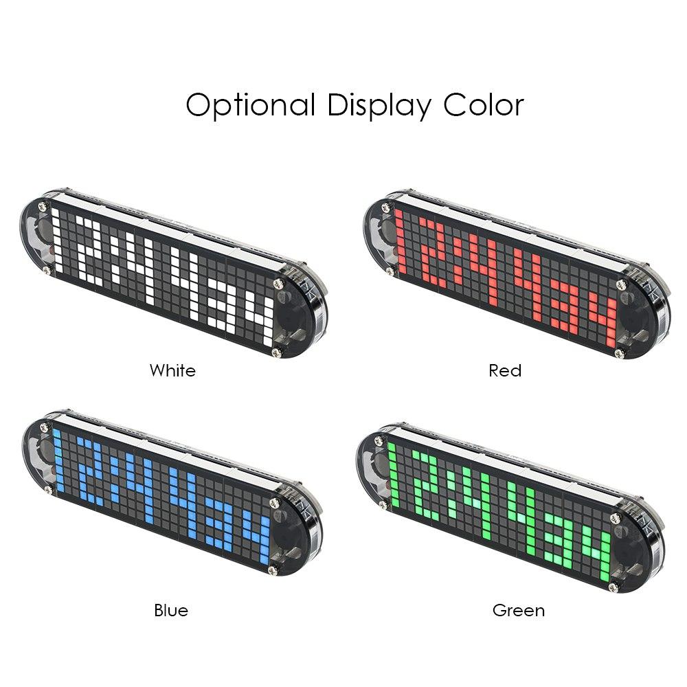 Reloj DS3231 de alta precisión DIY Digital Dot Matrix LED alarma reloj Kit con caja transparente temperatura fecha visualización de hora