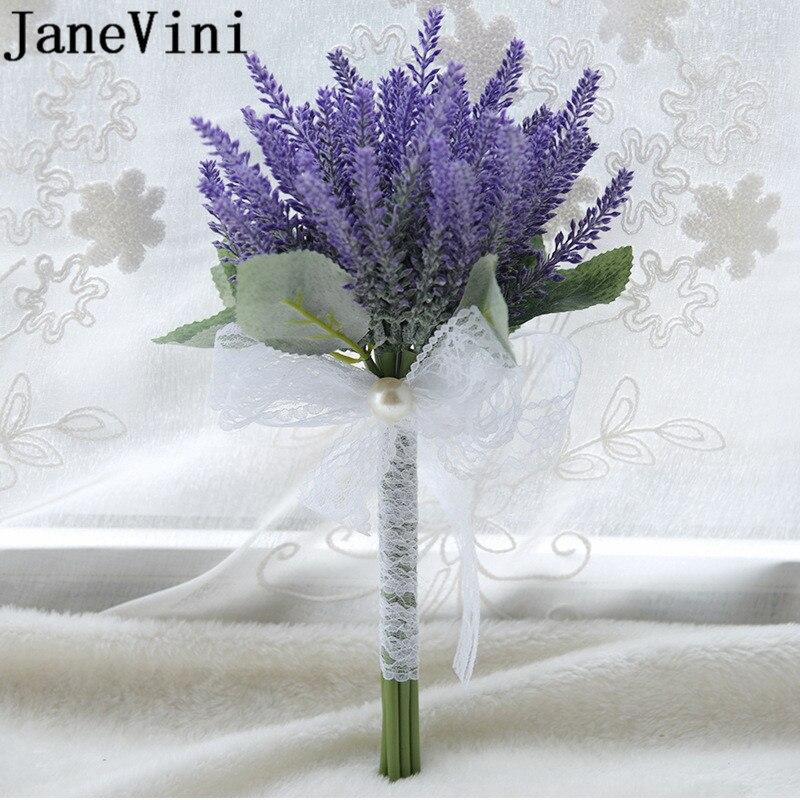 JaneVini, ramo de flores artificiales de lavanda púrpura para dama de honor, boda para hombre, ramos de encaje, flor nupcial, boda Artificial
