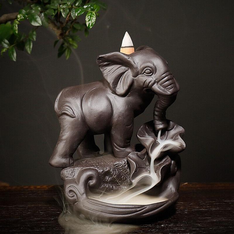 13*10*16.5cm Ceramic Elephant Design Backflow Incense Burner Censer Ornament Waterfall Incense Holder for Home Decoration