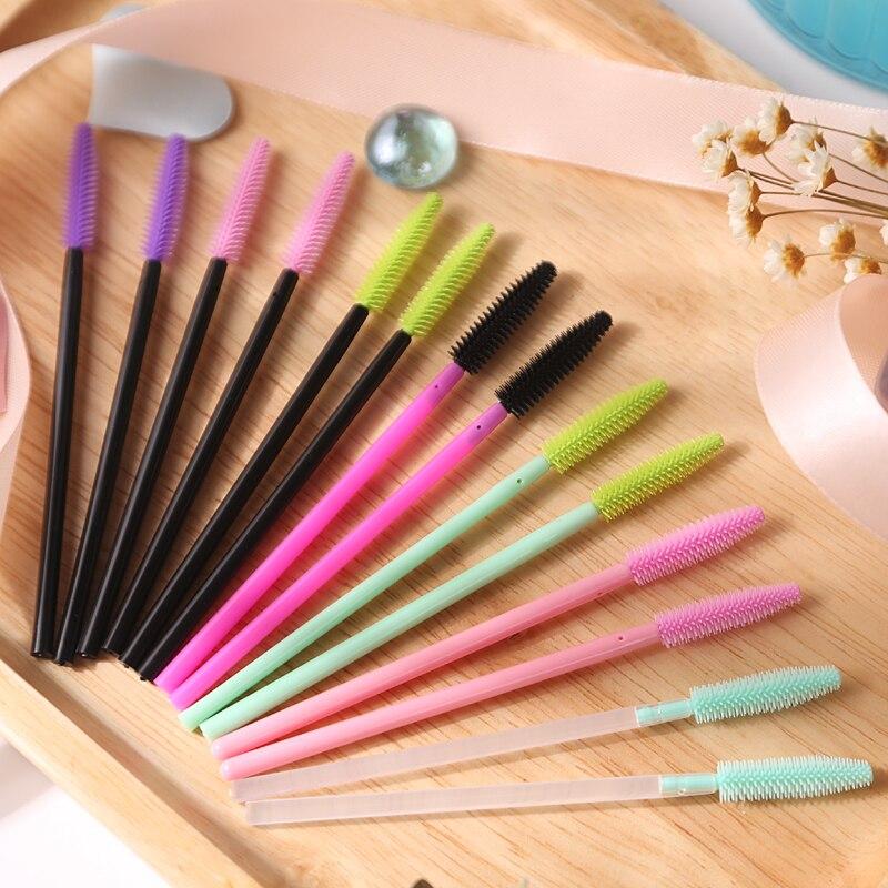 Nice Silicone Brushes 200pcs/lot Disposable Mascara Wands Applicators Eyelash Extension Makeup One-off Eye Lash Brushes