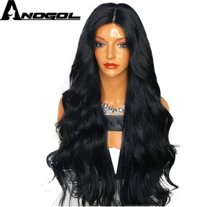 Anogol Brand High Temperature Fiber Wigs Peurca 1B Long Body Wave Synthetic Lace Front Wig 13*1 Part Lace Wig For Black Women