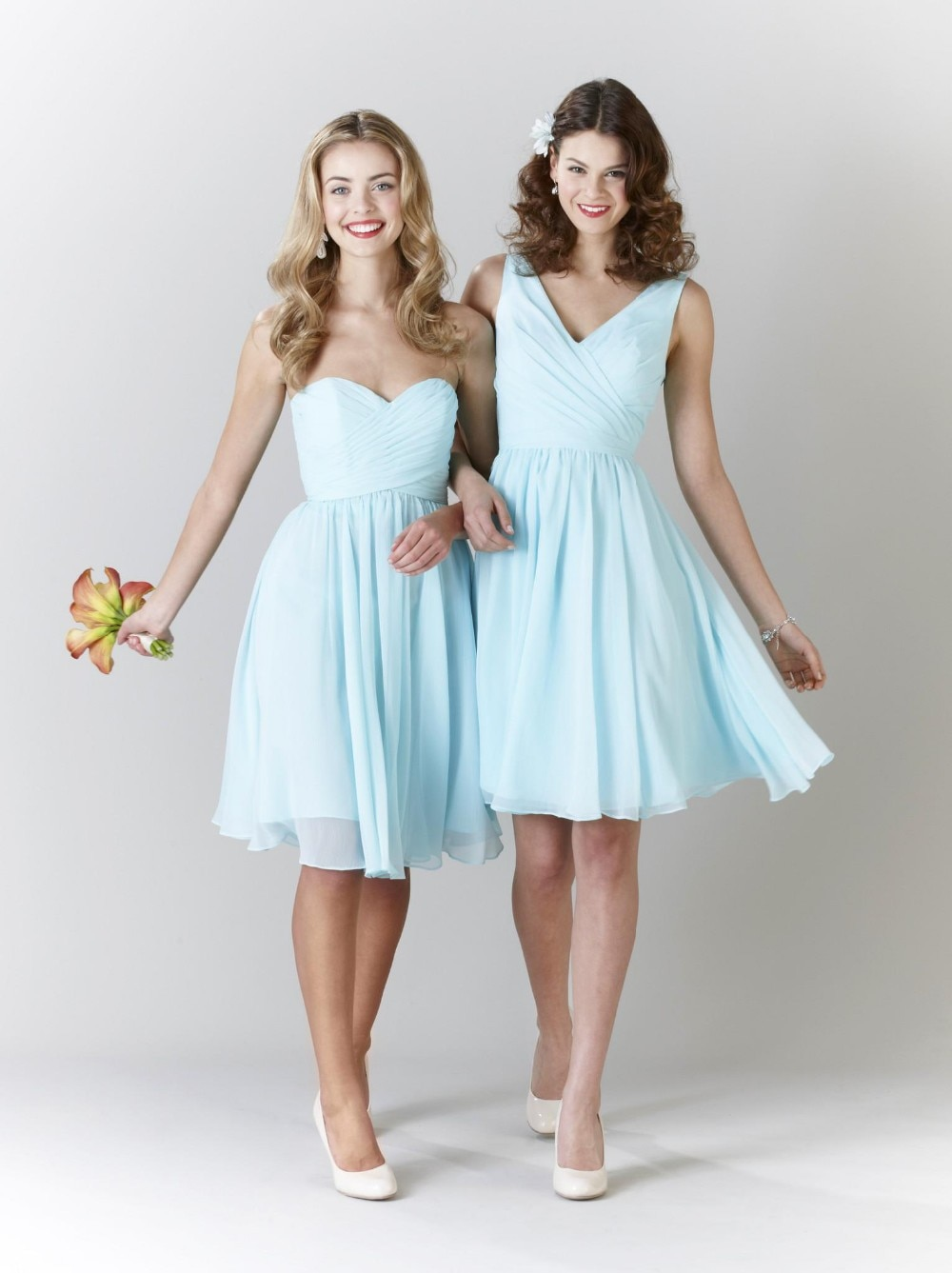 Classical style Mixed Two Style Unique Design Bridesmaid Dresses Chiffon Knee Length Maid Of Honor Dresses Prom Dresses WD31