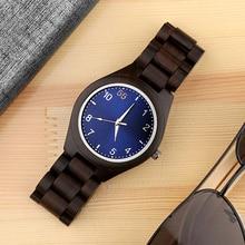 탑 럭셔리 블루 우드 시계 독특한 나무 시계 남자 시계 패션 전체 나무 남자 시계 시계 브랜드 시계