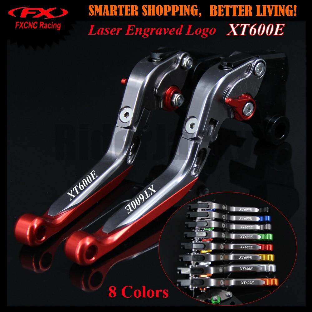 Para Yamaha XT 600E XT600E 1998-2003, 1999, 2000, 2001, 2002 + rojo de logotipo de la motocicleta CNC extensible plegable embrague de palanca de freno