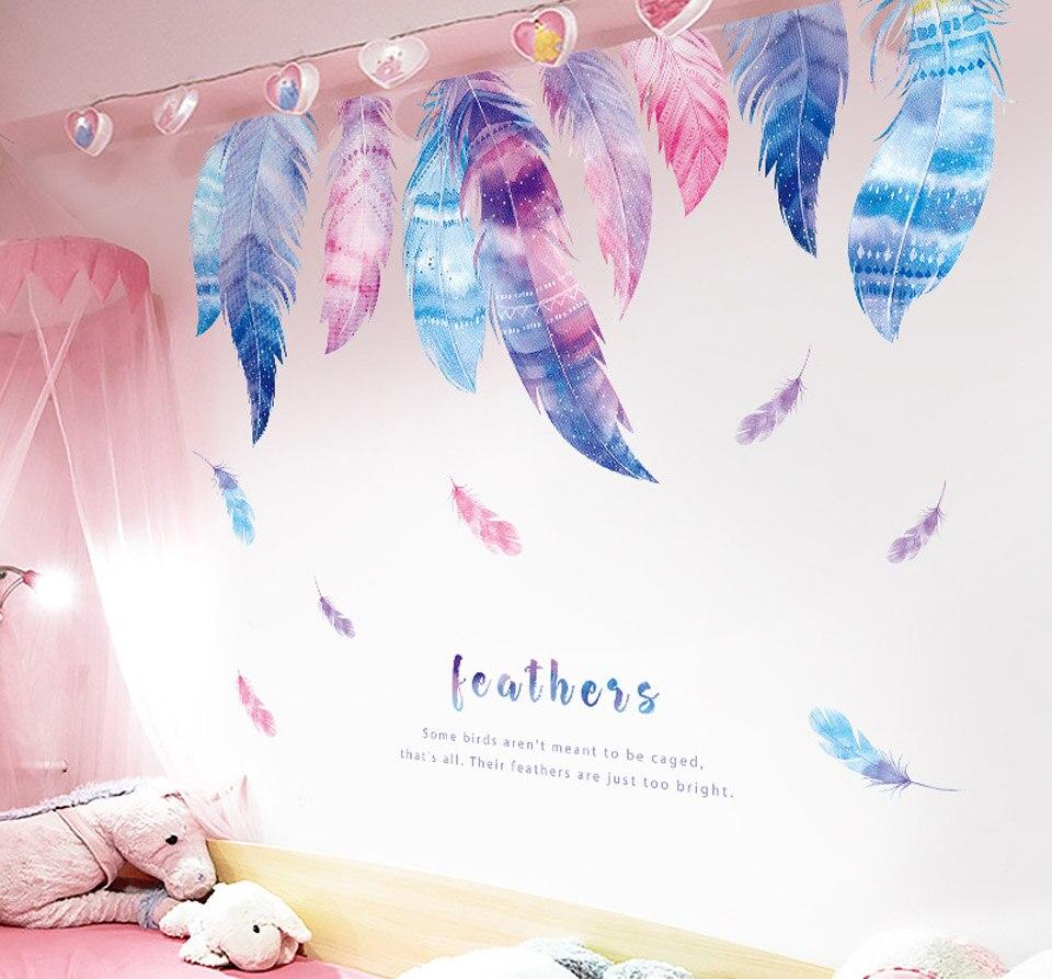 Pegatinas de pared de pluma Rosa romántica para chicas, habitaciones, decoración del hogar, sala de estar, dormitorio, decoración, papel tapiz, arte de pared, decoración del hogar