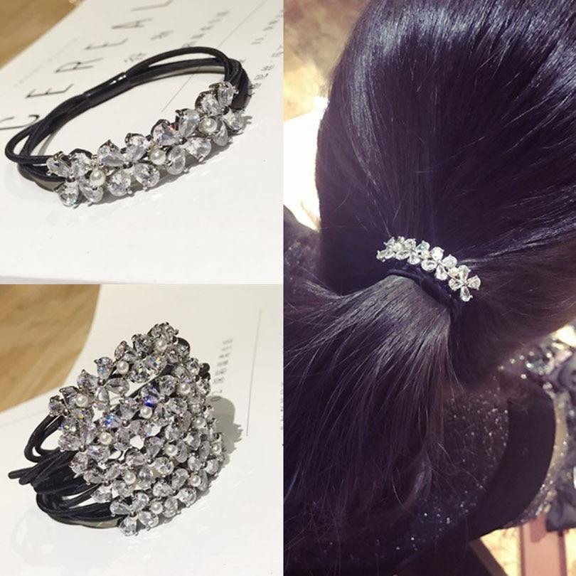 Korean Elegant Rhinestones Women Hair Accessories Simple Black Elastic Hair Bands Girl Hairband Hair Rope Gum Rubber Band