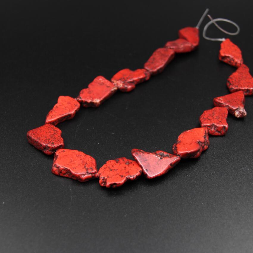 2 brins/Lot naturel rouge brut Turquoises dalle pépite lâche perles, Howlite magnésite tranche pendentif perles collier bijoux