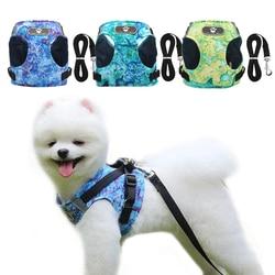 Oceano impressão cão arreios trela conjunto respirável filhote de cachorro colete para pequeno animal estimação médio cães reflexivo andando leash conjuntos