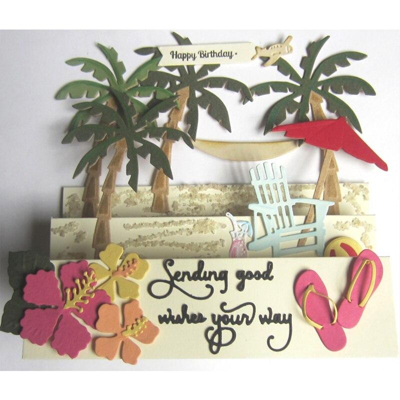 Beach Coconut hamaca de árbol Metal troquelado troqueles palabras para DIY Scrapbooking grabador de relieve para tarjetas de papel arte decorativo Nuevo 2018