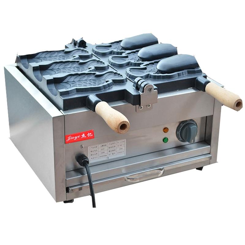 110/220V máquina comercial eléctrica abierta besugo 3 uds máquina de pastel de pescado máquina de Waffle de pan máquina de Waffle antiadherente