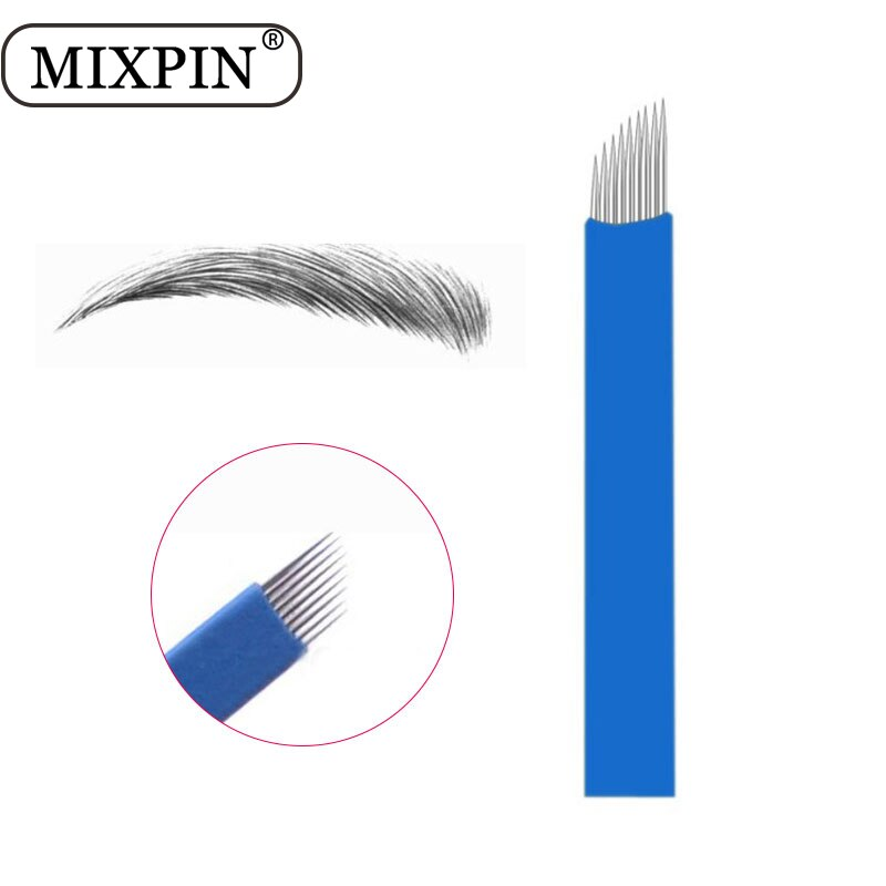 100 Uds., Laminas azules, Tebori Microblading, de 9 pines agujas de tatuaje, cuchilla de maquillaje permanente para lápiz Manual Del Tatuaje de bordado de cejas 3D
