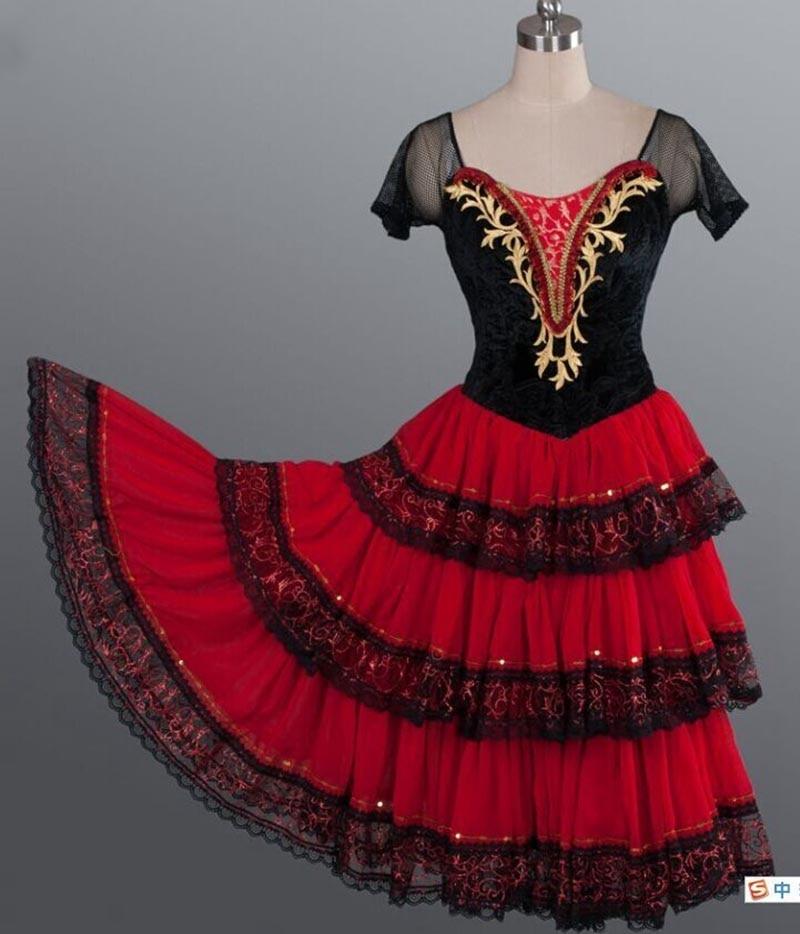 Don Quixote الكبار الأحمر رومانسية توتو الإسبانية Kitri الباليه فستان المرأة المهنية توتو الباليه ملابس رقص الإسبانية للفتيات