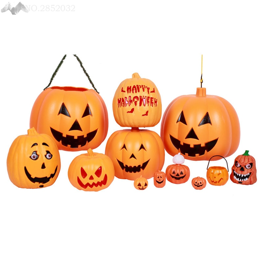 JW Halloween Pumpkin Lamp Night Light Plastic Pumpkin Lamps Luminous Sound Night Lights Living Room Halloween Childrens Gifts
