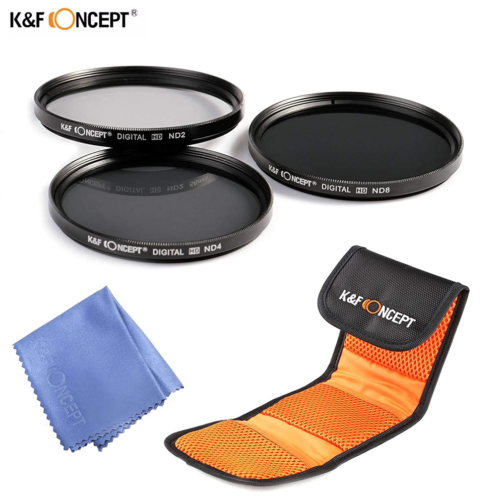 K & F ND2 + ND4 + ND8 Kit de filtros para lentes 52/55/58/62/67/72/77mm densidad Neutral lente de filtro nd con bolsa + paño de limpieza para Nikon Canon Sony