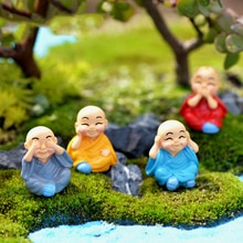 INKANEAR Mini Gnomes Kung Fu Monk Micro Fairy Garden Decoration Anime Figures Dolls Toys Terrariums Miniatures DIY Accessories