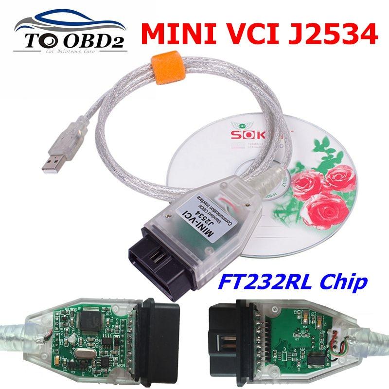 V14.30.023 MINI VCI para TOYOTA TIS Techstream mini vci FTDI FT232RL Chip J2534 OBD2 de diagnóstico del coche cable de soporte Multi-idiomas