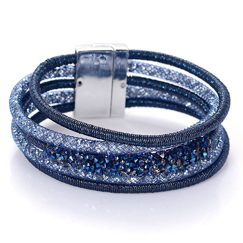 Miasol moda exclusivo projetado multicamadas vertentes cristal charme pulseira magnética para presentes femininos b1966