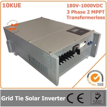 Onduleur solaire sans transformateur 10000W/10KW 180V-1000VDC   Onduleur solaire à cravate IP65 et trois phases 2 MPPT avec réceptions CE RoHs