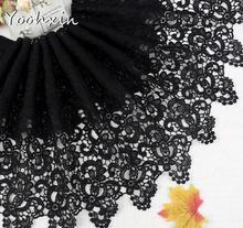Черная кружевная лента с вышивкой, 32 см ширина, элегантная, хлопковая, 3D отделка, воротник, шитье, сделай сам, кисточка, женское платье, ткань для свадебного декора