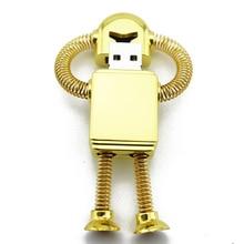 100% prawdziwa pojemność złoty Metal Robot pamięć Usb 512GB Creativo Pendrive 1TB Pendrive 16/32/64GB prezent Pen Drive 2TB 128GB