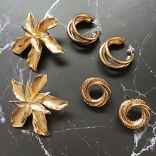 Ztech 2019 Europe New Vintage Za Gold Color Metal Flower Big Earrings For Women Fashion Personality Statement Oorbellen