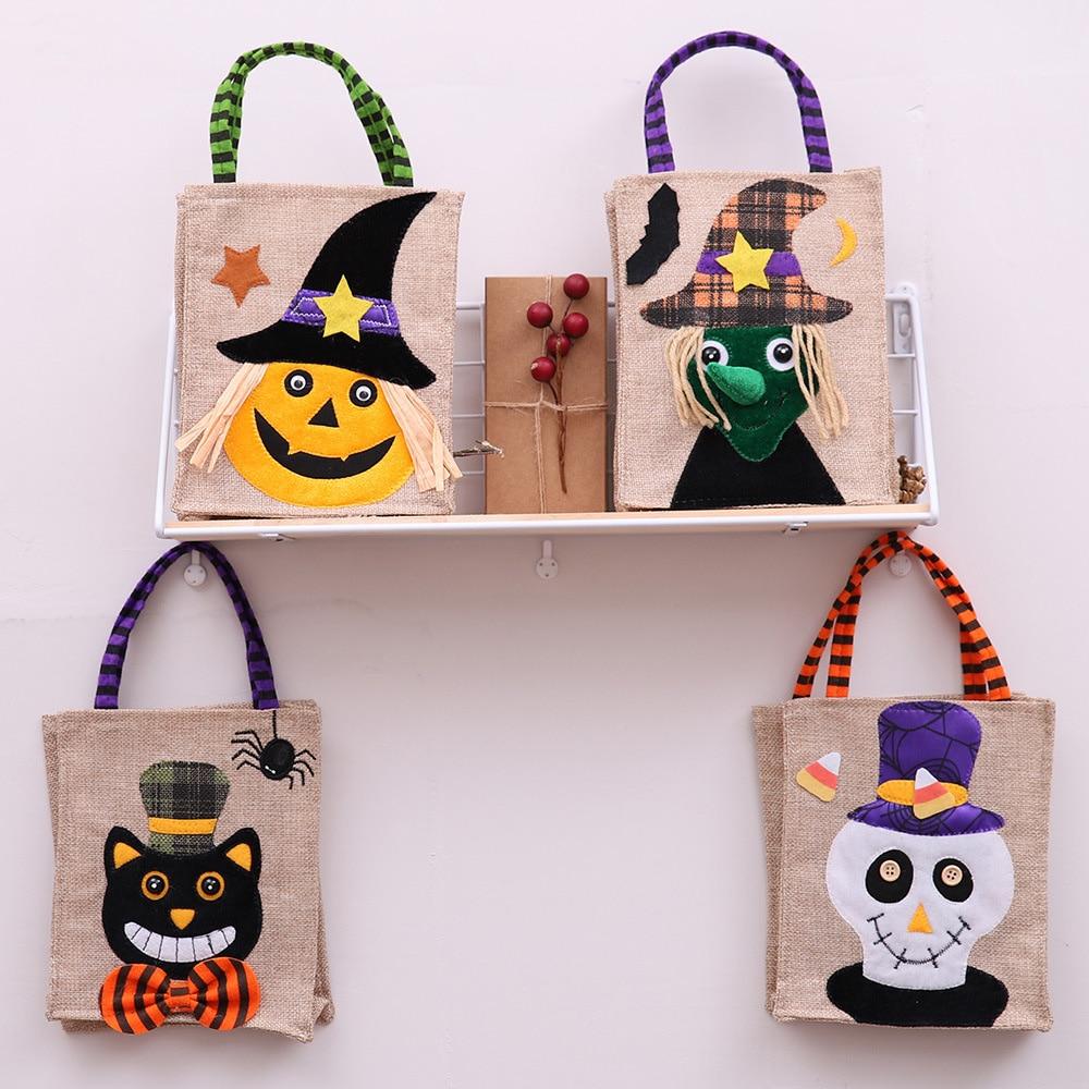Nueva bolsa de regalo para caramelos Halloween brujas calabazas bolsa para regalar galletas golosinas o dulces bolsa de almacenamiento suministros para fiestas
