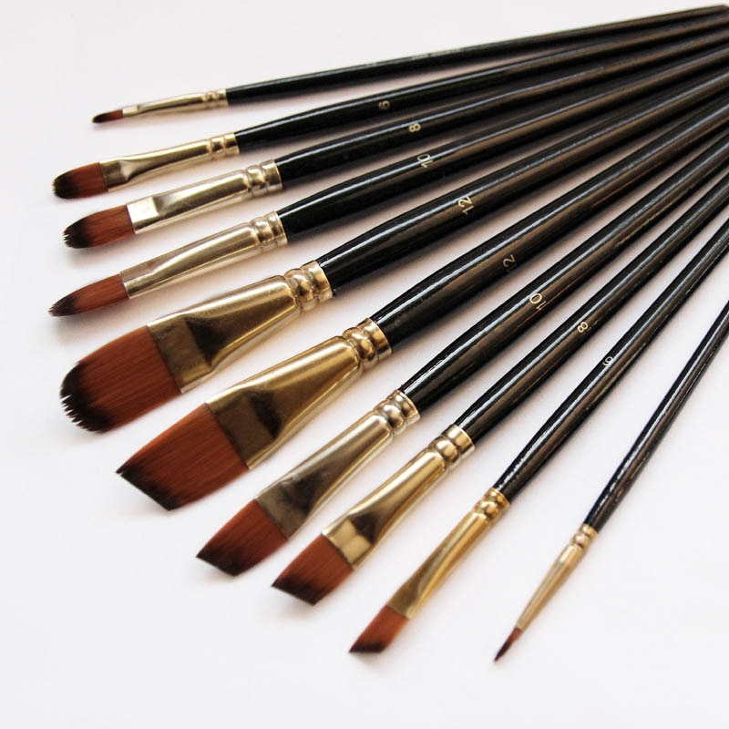 Artist Paint Brush Set 5Pcs High Quality Nylon Hair Wood Black Handle Watercolor Acrylic Oil Brush P