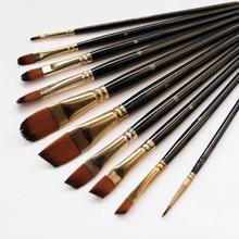 5Pcs/6pcs צבע אמן מברשת סט באיכות גבוהה ניילון שיער עץ שחור ידית אקוורל אקריליק שמן מברשת ציור אספקת אמנות