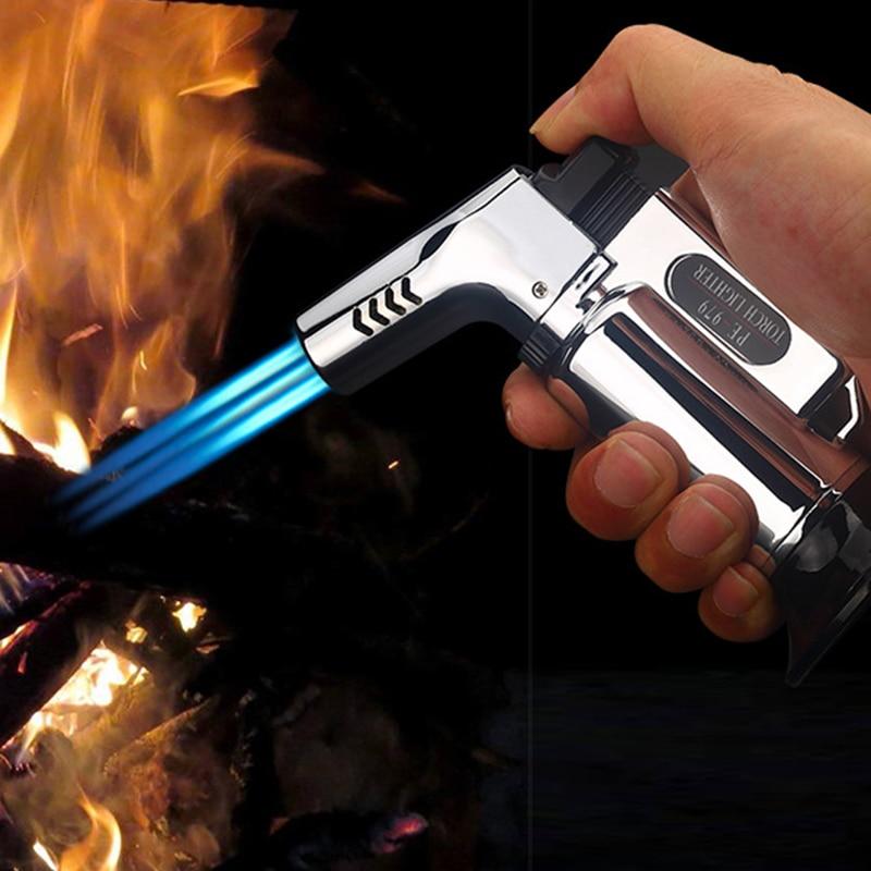 Triplo tocha isqueiro 3 jet gás charuto mais leve turbo à prova de vento poderoso metal pistola cozinha butano tubo mais leve ao ar livre