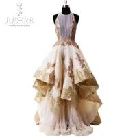 luxury ruffle evening dress appliques highlow evening gown pleat round neckline golden formal prom dress robe de soiree longue