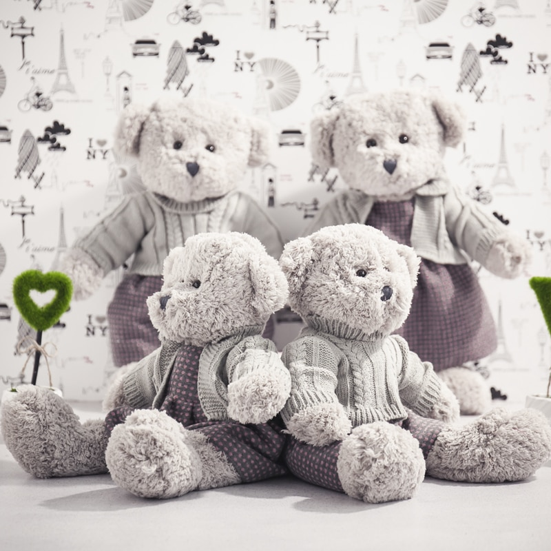Cute Plush Gray Bear Toy  Little Sweater Cute Bear Doll Bear Doll Creative Children Girlfriend Brithday Gift Christmas Present