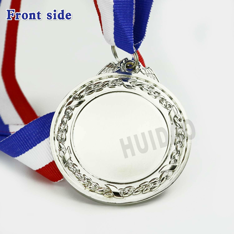 1 шт. пустые металлические медали лист и пшеничная граница дизайн серебряный цвет медаль с красно-белой синей лентой Размер 60 мм