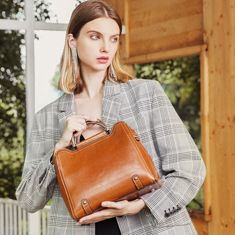 FoxTail & Lily-حقيبة يد جلدية أصلية بمقبض معدني ، حقيبة كتف نسائية ، ماركة فاخرة