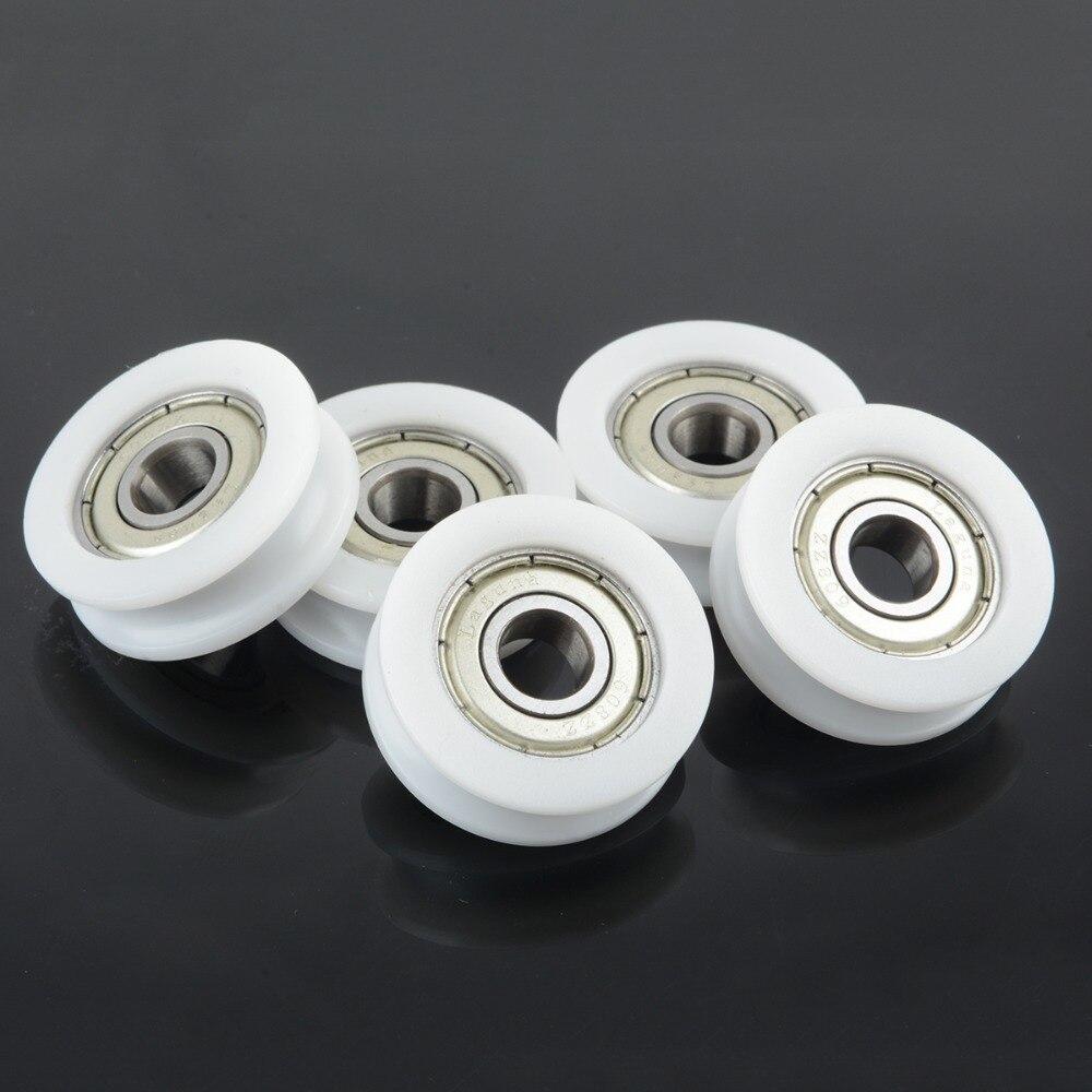 Roda de porta deslizante do sulco de 10 pces u 8x30x10mm pom caoted com rolo das rodas da polia do rolamento 608zz para a corda de 3mm com rolamento