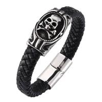 punk leather bracelet for men skull cross bones bracelet charm stainless steel bracelets bangles fashion male jewelry bb0272