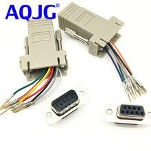 AQJG adaptateur RJ45 à DB9   RS232, femelle, mâle à RJ45, connecteur femelle, adaptateur RJ45 à DB9 RS232 com LAN à 232 db9, RS232 à RJ45, 10 pièces