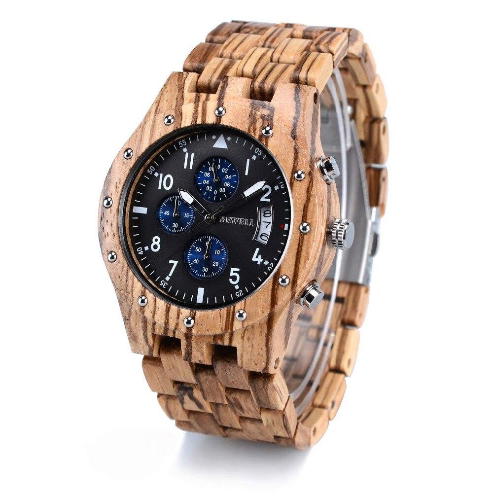Мужские деревянные часы BEWELL в деревянной подарочной коробке, кварцевые аналоговые часы с небольшим циферблатом и отображением даты, хроног...