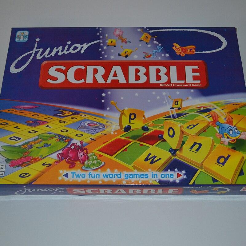 Plateau de jeu à deux niveaux, Scrabble, double face, mots et images, couleurs et compteurs pour tous les enfants, jeu de jouet