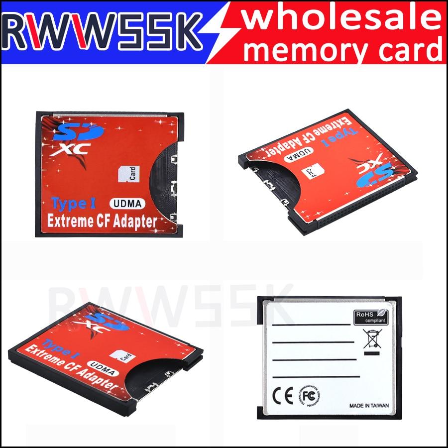 Tarjeta SD SDHC SDXC a CF flash compacto tipo I SD a CF adaptador de tarjeta de hasta 256GB