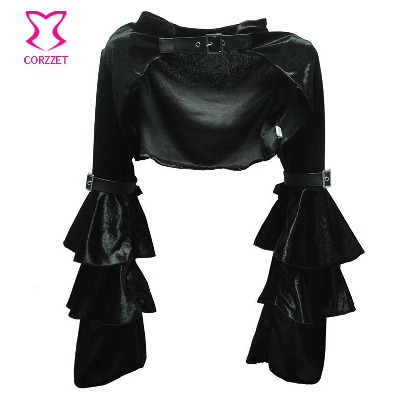 Black Flannel Ruffle Long Sleeve With Belt Steampunk Jacket Women Gothic Bolero Coat Outwear Sexy Corset Burlesque Accessories
