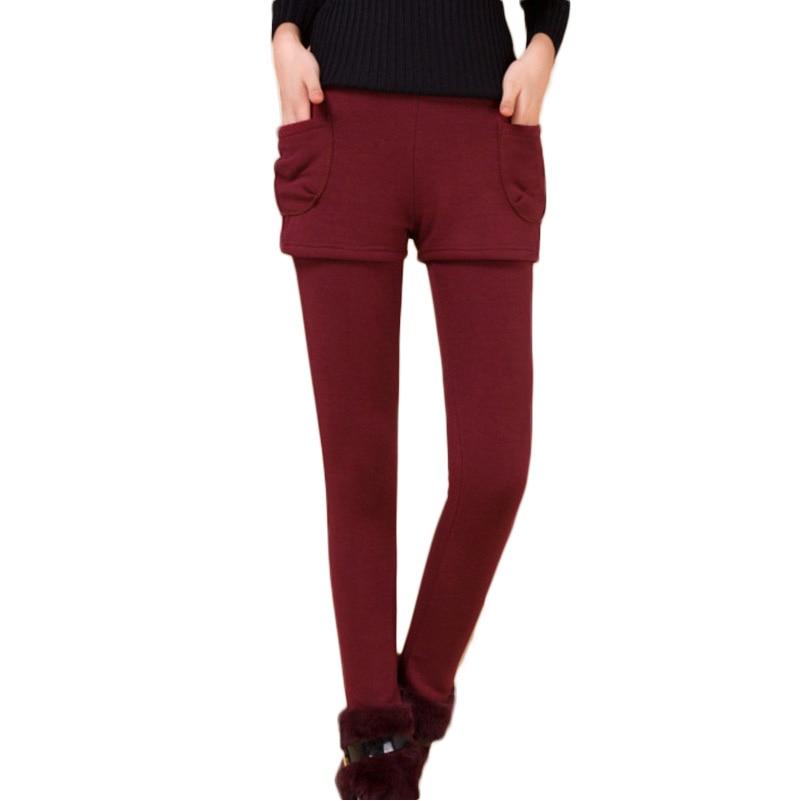 Hot Selling Winter Autumn False Two-piece Pocket Legging Pantskirt Women Fashion Leggings With Mini Skirts Slim Fit Pencil Pants
