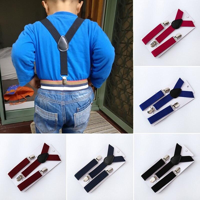 Adjustable Children Suspenders Belt Baby Boys Girls Clip-on Y-Back Elastic Braces Costume Soild Color Strap Accessories