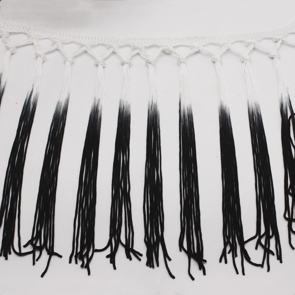 Yackalasi 3 Yds/lote flecos borla nudo 100% rayón Latino flecos Blanco/Negro Lain vestido flecos recorte 15cm