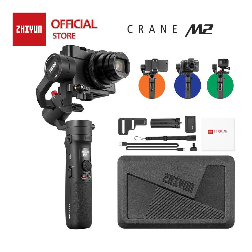 Zhiyun guindaste m2 cardan de 3 eixos compatíveis para câmera de ação, câmeras compactas mirrorless, smartphones, carga útil 130g - 720g