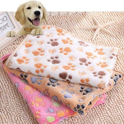 New Arrival 2016 Cute Pet Small Medium Large Warm Paw Print Dog Puppy Fleece Soft Blanket Bed Mat C1HG