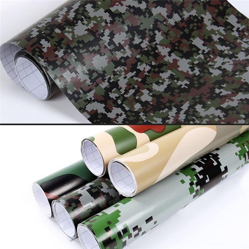 152*20CM pegatina coche color de camuflaje cambiar película envoltura hoja adhesiva vinilo PVC motocicleta fibra de carbono pegatina ejército Woodland