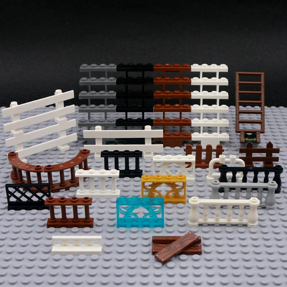 Briques ville accessoires clôture garde-corps escaliers MOC Mini chiffres maison jardin militaire ww2 jouets ville pièces blocs de construction créateur