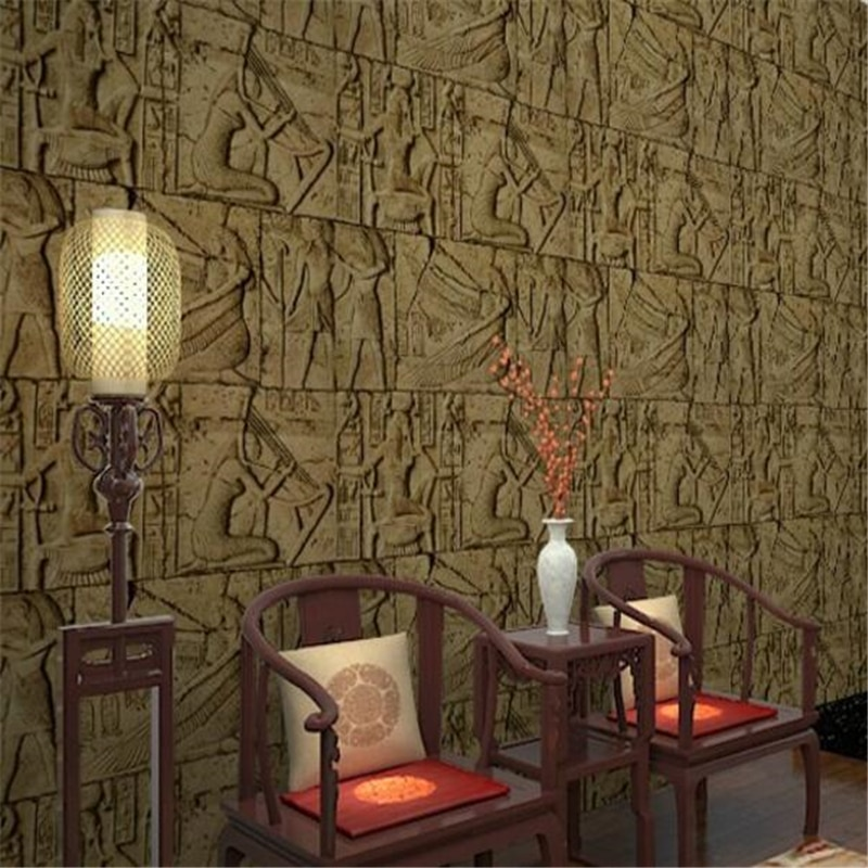 wellyu Vintage features imitation carved Egyptian pattern room escape wallpaper realistic character art film wall paper retro pvc features imitation engraving egyptian pattern room escaped wallpaper realistic characters art video wall wallpaper